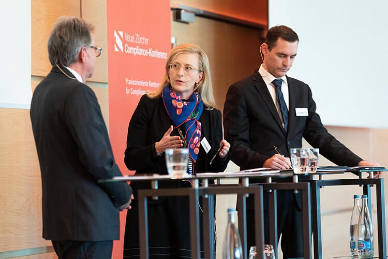 Urs Jaisli, Claudia Götz Staehelin und Marco Villiger bei der Paneldiskussion